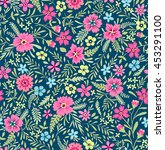 seamless cute floral pattern.... | Shutterstock .eps vector #453291100
