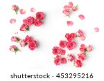 Stock photo framework from roses on white background flat lay 453295216