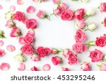Stock photo framework from roses on white background flat lay 453295246