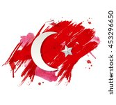 stylized turkish flag with red  ... | Shutterstock .eps vector #453296650