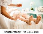 closeup of a female therapist... | Shutterstock . vector #453313108
