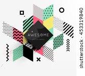 trendy geometric flat pattern ... | Shutterstock .eps vector #453319840