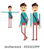 boy walking with bag. cartoon... | Shutterstock .eps vector #453322399