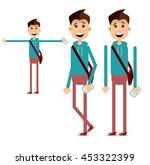 boy walking with bag. cartoon... | Shutterstock .eps vector #453322399