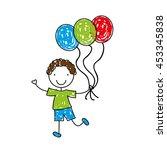cartoon girl with toy ballon ... | Shutterstock .eps vector #453345838