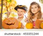 boy and girl during halloween... | Shutterstock . vector #453351244