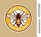 pure honey bee label | Shutterstock .eps vector #453355006