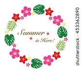 hibiscus summer flower frame | Shutterstock .eps vector #453362890