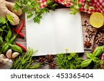 herbs and spice on wooden table ... | Shutterstock . vector #453365404