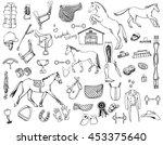hand drawn doodles of horse... | Shutterstock .eps vector #453375640