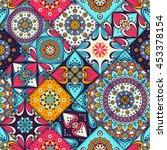 seamless tile pattern moroccan...   Shutterstock .eps vector #453378154
