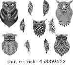 hand drawn zentangle owl  bird... | Shutterstock .eps vector #453396523