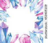 watercolor gem stones square... | Shutterstock . vector #453405109