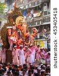 Small photo of MUMBAI, INDIA - SEPTEMBER 22,2010 : Thousands of devotees bids adieu to Lord Ganesha in Mumbai during Ganesh Visarjan which marks the end of the ten-day-long Ganesh Chaturthi festival.