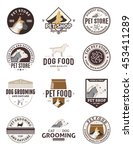 Stock vector set of vector pet logo and icons 453411289