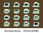 hot coffee drinks with recipes... | Shutterstock .eps vector #453416980