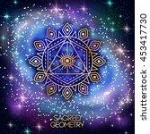 sacred geometry emblem with eye ... | Shutterstock .eps vector #453417730