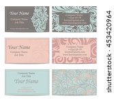 Set Of Six Floral Business...