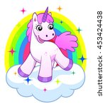 pink unicorn on cloud and... | Shutterstock .eps vector #453424438
