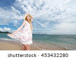 woman enjoy the sun. | Shutterstock . vector #453432280