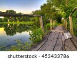 wooden bridge on a lake at... | Shutterstock . vector #453433786