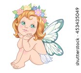 sitting little fairy. cute... | Shutterstock .eps vector #453435049