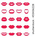 set of red lips on a white... | Shutterstock .eps vector #453436228