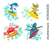 surfer cool monsters on wave.... | Shutterstock .eps vector #453436330