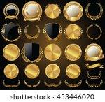 vector medieval golden shields... | Shutterstock .eps vector #453446020