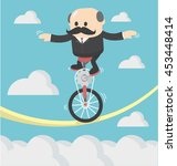 businessman cycling balancing... | Shutterstock .eps vector #453448414