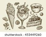 hand drawn ice cream  dessert ... | Shutterstock .eps vector #453449260
