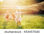 happy family in the park | Shutterstock . vector #453457030