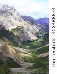 Small photo of view over the valley of the gramai alp in the karwendel mountains of the european alps by daylight