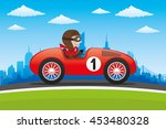 red retro car on city...