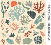 vector illustration with sea... | Shutterstock .eps vector #453481783