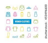 set of women clothes outline... | Shutterstock .eps vector #453496600