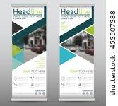 green roll up business banner... | Shutterstock .eps vector #453507388