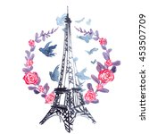 Eiffel Tower In Wreath Of...