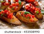 bruschetta with tomato and... | Shutterstock . vector #453508990