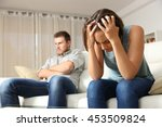 angry boyfriend and sad... | Shutterstock . vector #453509824