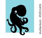 black cartoon octopus... | Shutterstock .eps vector #453511654