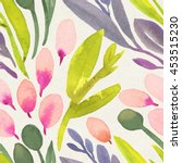 seamless watercolor floral... | Shutterstock . vector #453515230
