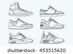6 cool shoes  sneakers  vector  ... | Shutterstock .eps vector #453515620