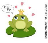 Card With Cute Little Frog And...