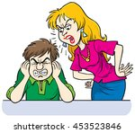 furious woman shouting at man | Shutterstock .eps vector #453523846