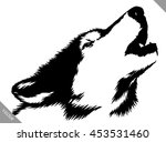 black and white paint draw wolf ... | Shutterstock .eps vector #453531460