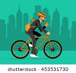 cool male businessman  riding... | Shutterstock .eps vector #453531730