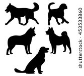 dogs silhouettes. vector...