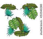 poster tropic leaves background ... | Shutterstock . vector #453540280