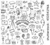 hand drawn doodle cinema set.... | Shutterstock .eps vector #453541966